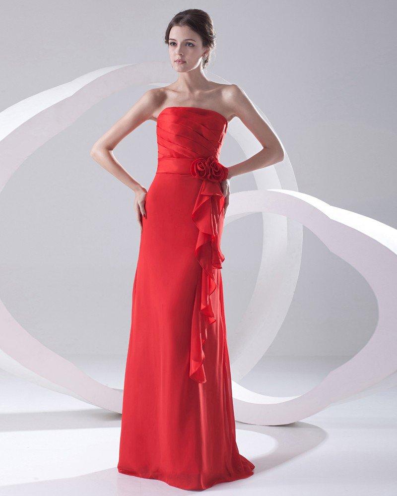 Fashion Chiffon Pleated Ruffle Flowers Strapless Sleeveless Floor Length Bridesmaid Dress