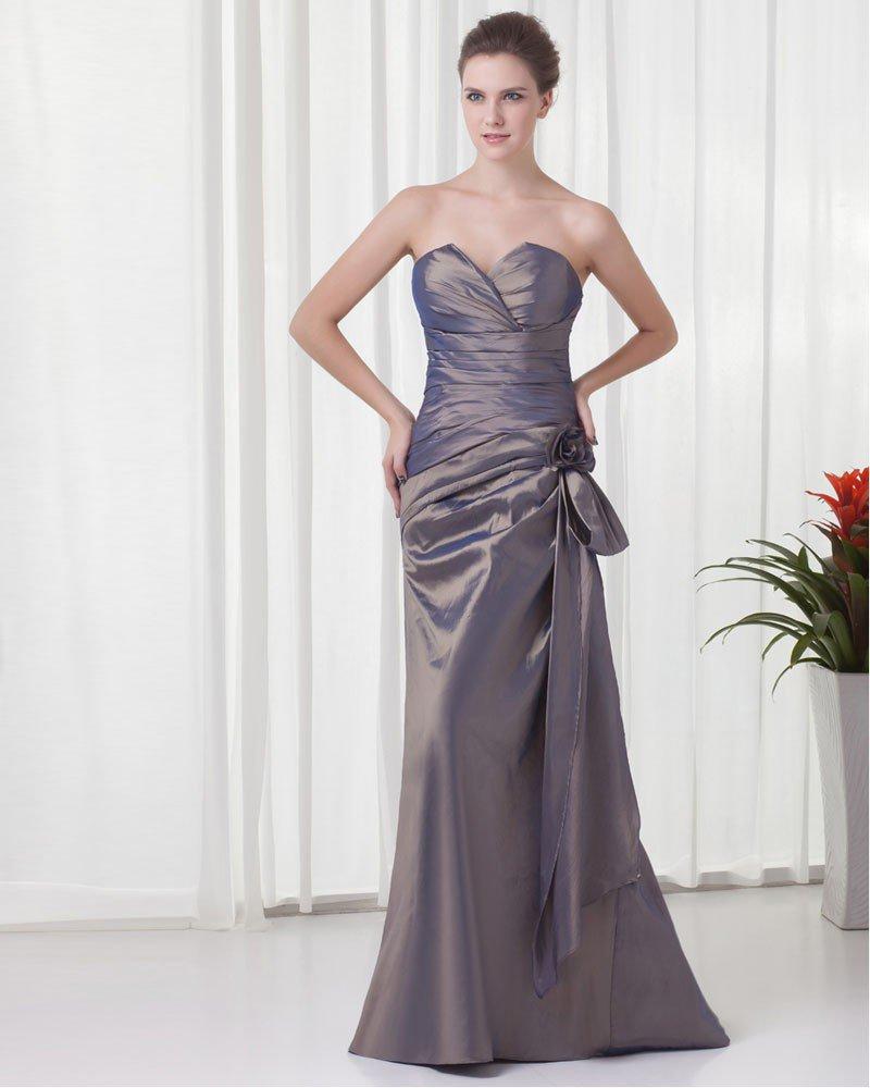 Elegant Ruffle Flower Decoration Sweetheart Floor Length Taffeta Bridesmaid Dress
