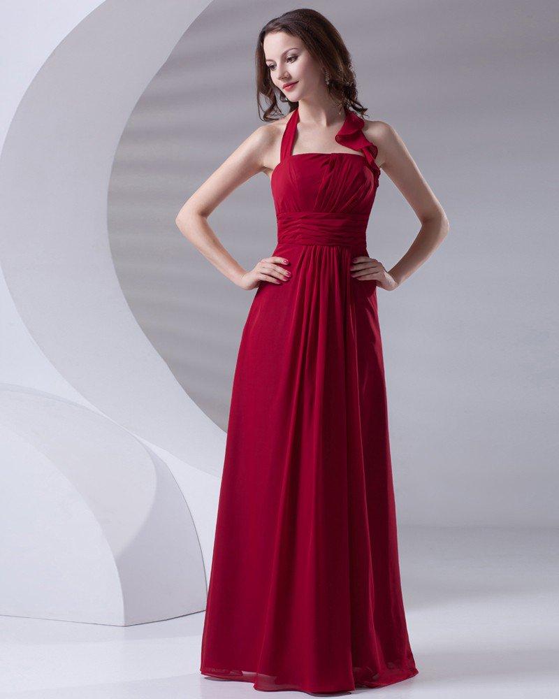 Fashion Halter Floor Length Ruffle Chiffon Bridesmaid Dress