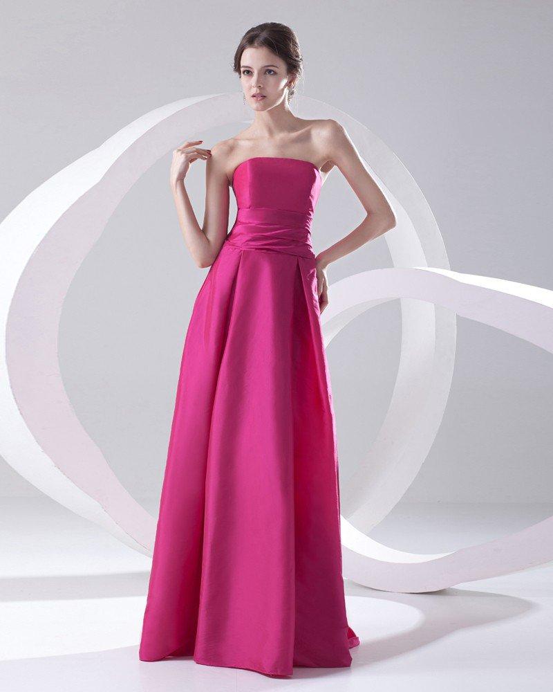 Fashion Satin Pleated Strapless Sleeveless Floor Length Bridesmaid Dress