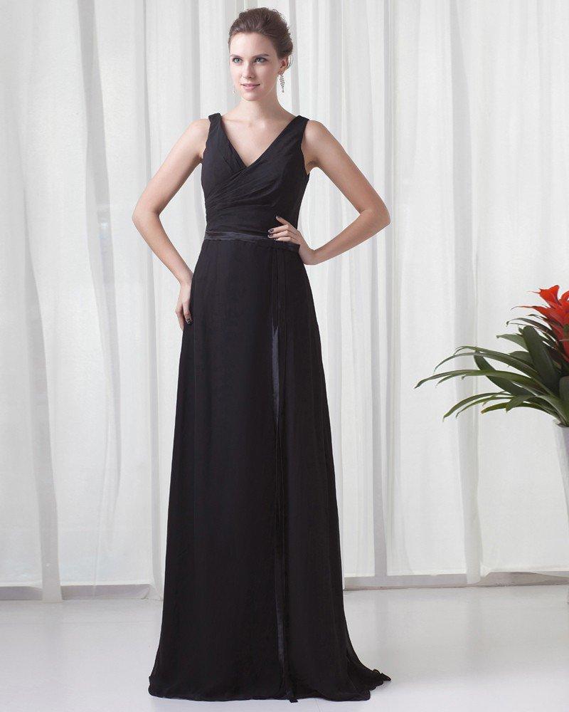 Formal V Neck Floor Length Ribbon Pleated Chiffon Bridesmaid Dress