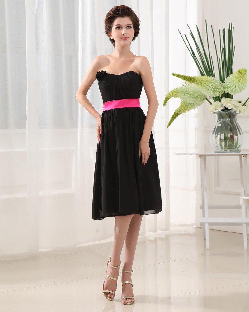 Strapless Neckline Knee Length Pleated Flower Chiffon Woman A-Line Bridesmaid Dress