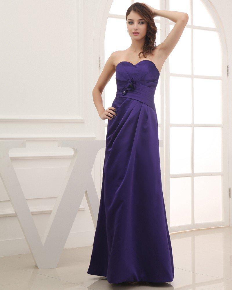 Satin Silk Ruffle Flower Beading Sweetheart Floor Length Bridesmaid Dress