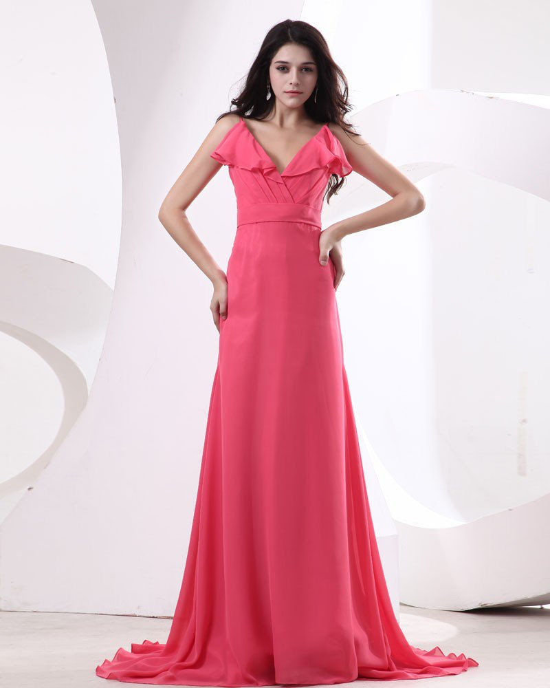 Chiffon Pleat V-Neck Floor Length Bridesmaid Dresses