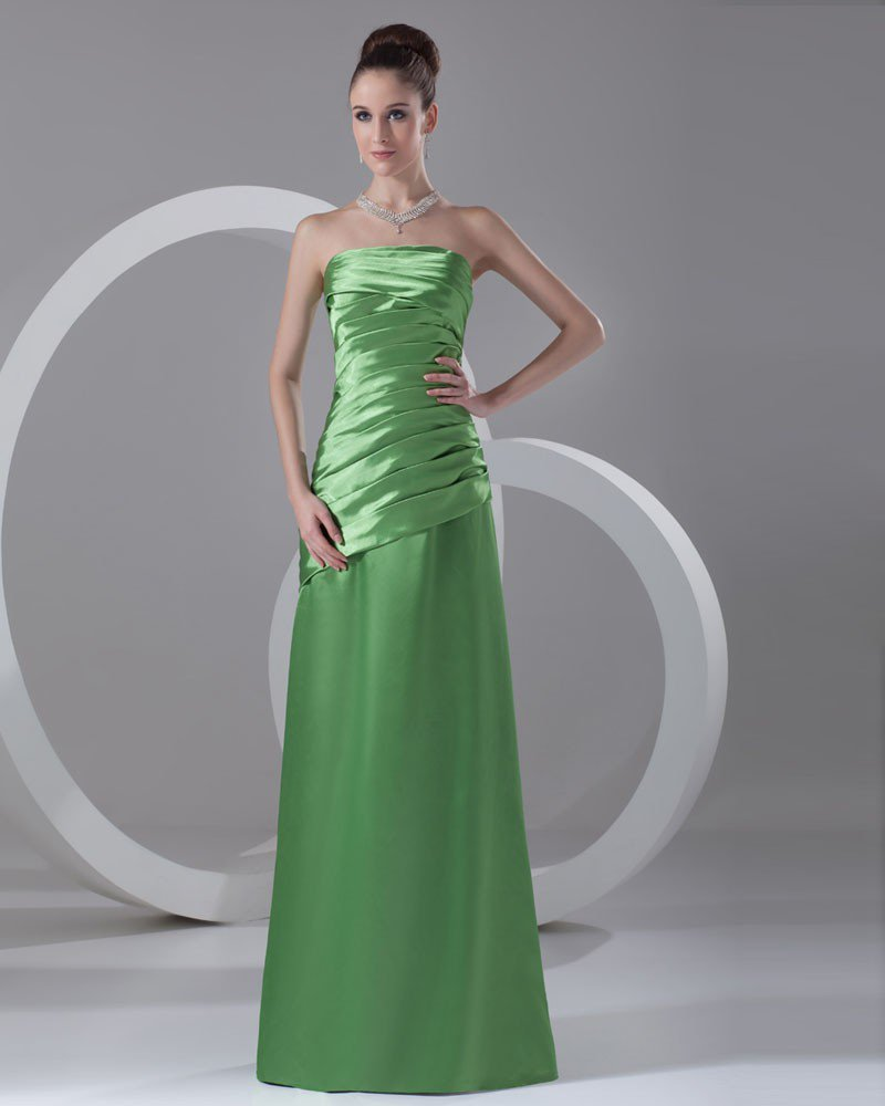 Satin Ruffle Strapless Floor Length Bridesmaid Dress