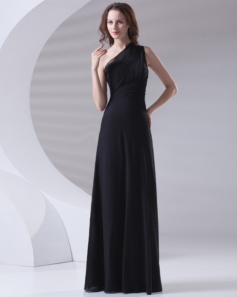 Slim Ruffle Design Sloping Neckline Floor Length Chiffon Bridesmaid Dress