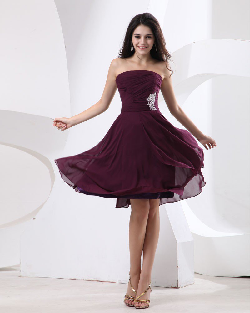 Chiffon Ruffle Sleeveless Strapless Knee Length Bridesmaid Dresses