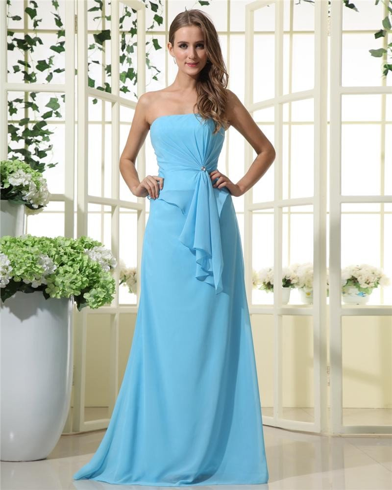 Stylish Ruffles Strapless Chiffon Bridesmaid Dresses