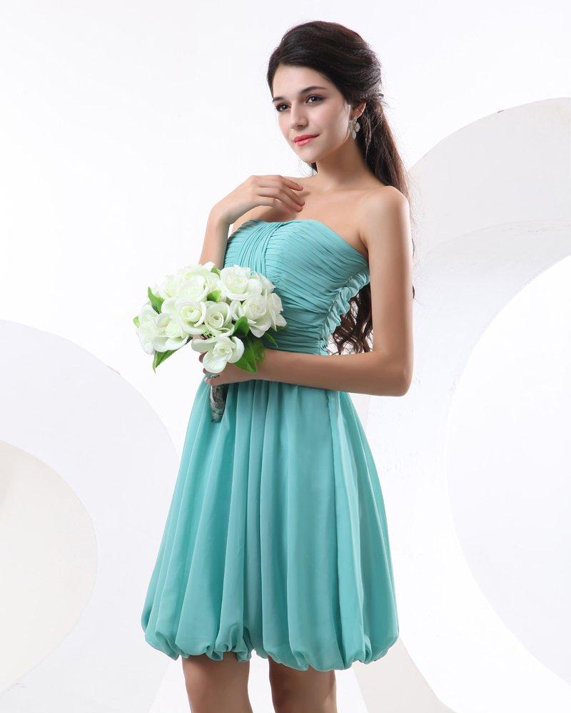 A-line Strapless Chiffon Bridesmaid Dress