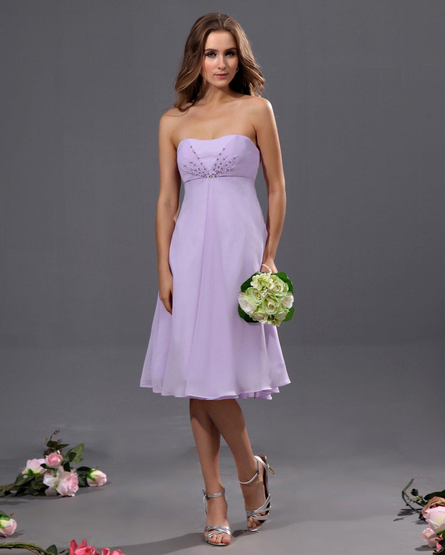 A-Line Strapless Tea Length Chiffon Bridesmaid Dress