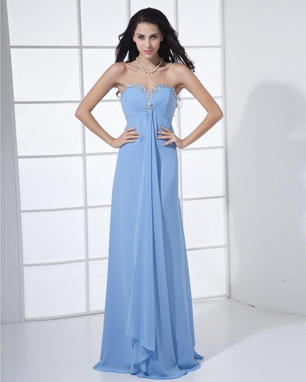 Chiffon Beading Sweetheart Floor Length Bridesmaid Dresses