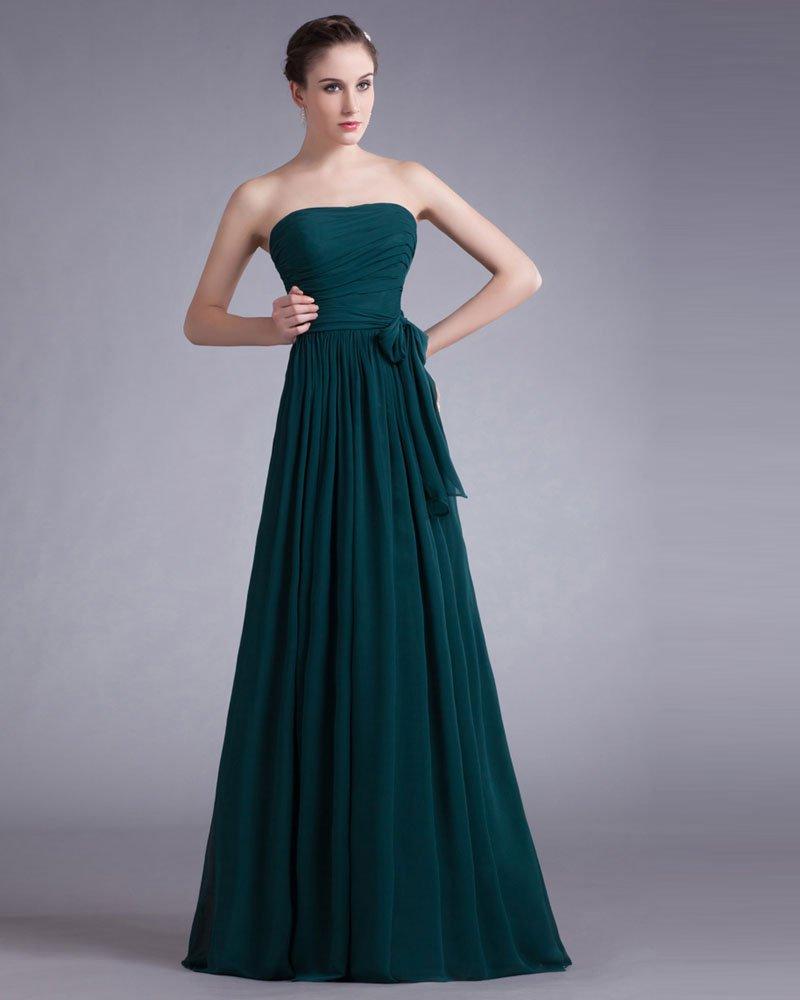 Chiffon Bow Sweetheart Floor Length Pleated Bridesmaid Dress