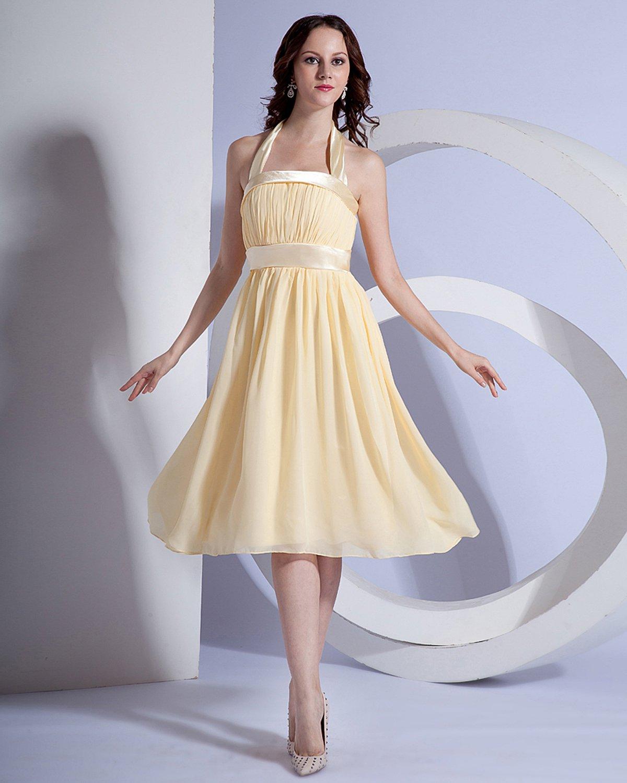 Chiffon Halter Pleated Knee Length Bridesmaid Dresses