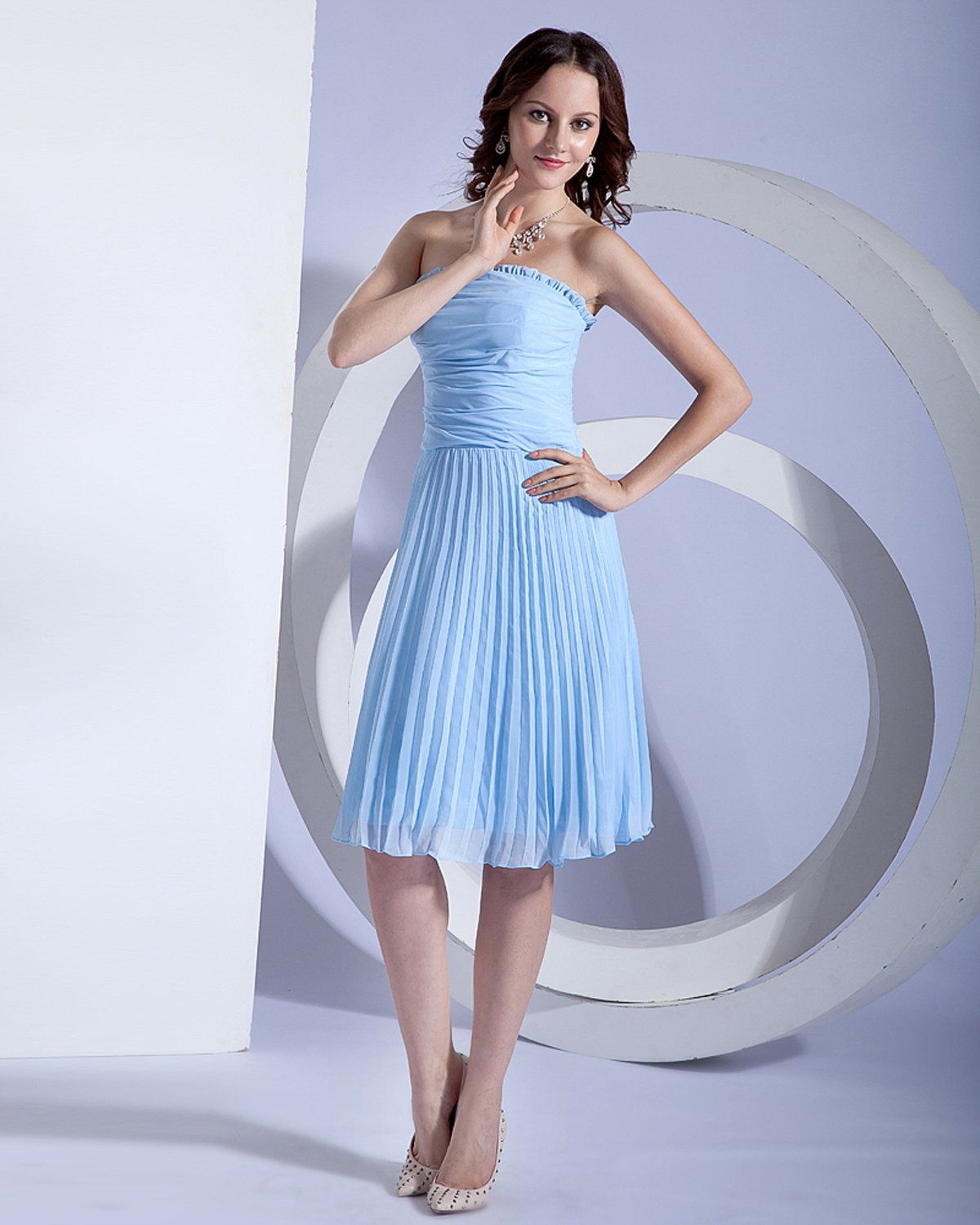 Chiffon Knee Length Bridesmaid Dress Gown