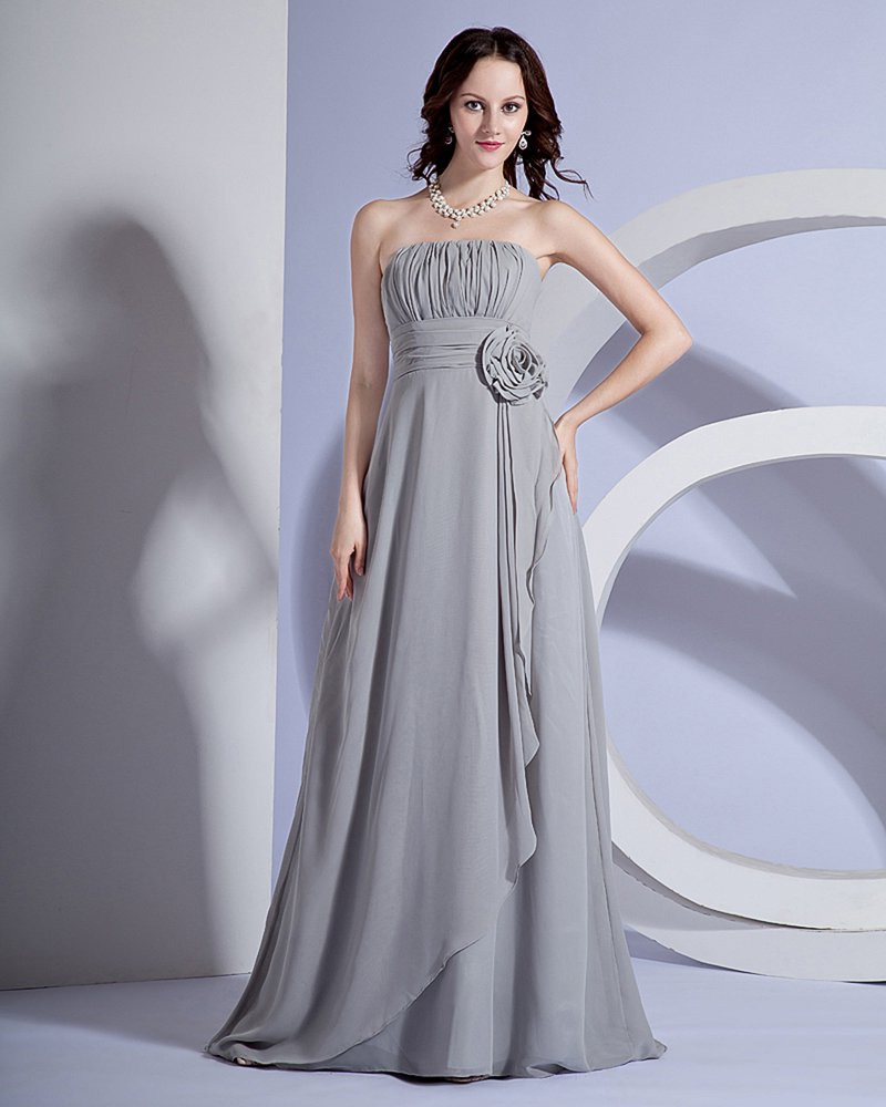 Chiffon Ruffle Flower Floor Length Bridesmaid Dress Gown