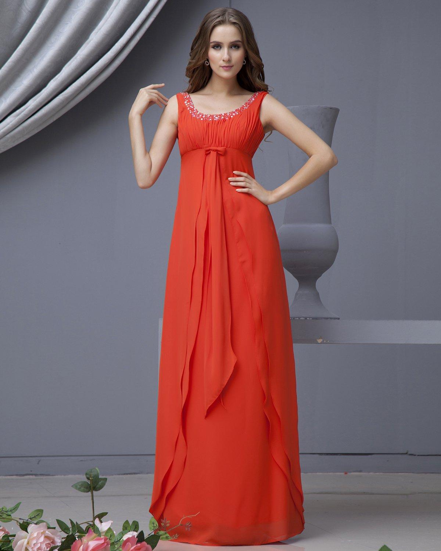 Chiffon Sash Ruffle Scoop Floor Length Bridesmaid Dresses