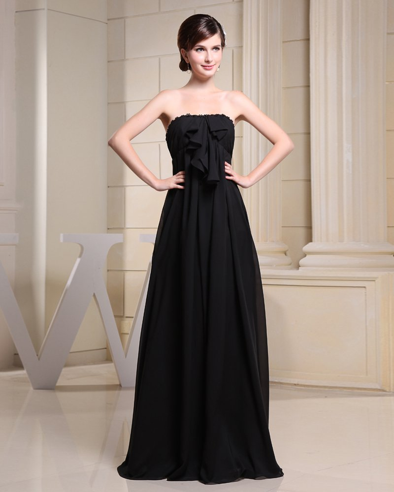 Chiffon Strapless Ruffle Sleeveless Backless Zipper Bow Floor Length Pleated Bridesmaid Dress