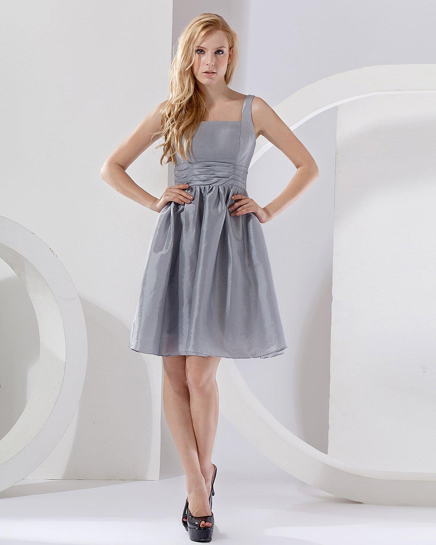 Elegant A-Line Square Knee-length Taffeta Bridesmaid Dress
