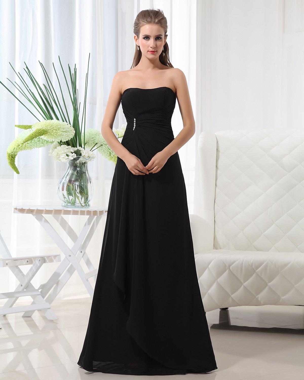 Fashion A-line Strapless Chiffon Floor Length Bridesmaid Dress