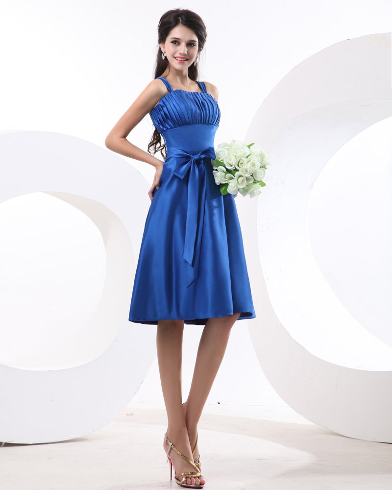 Fashion Spaghetti Straps Satin Pleated Knee Length Bridesmaid Dress