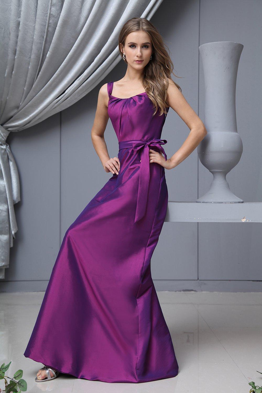 Shoulder Straps Taffeta Floor Length Bridesmaid Dress Gown