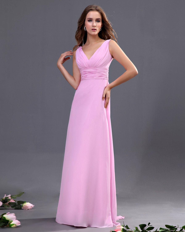 V-neck Sash Floor Length Bridesmaid Dress Gown