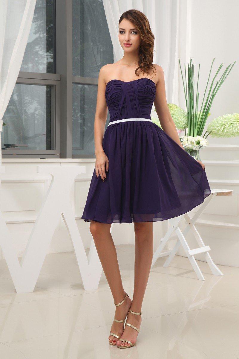 Chiffon Silk Sweetheart Knee Length Bridesmaid Dresses