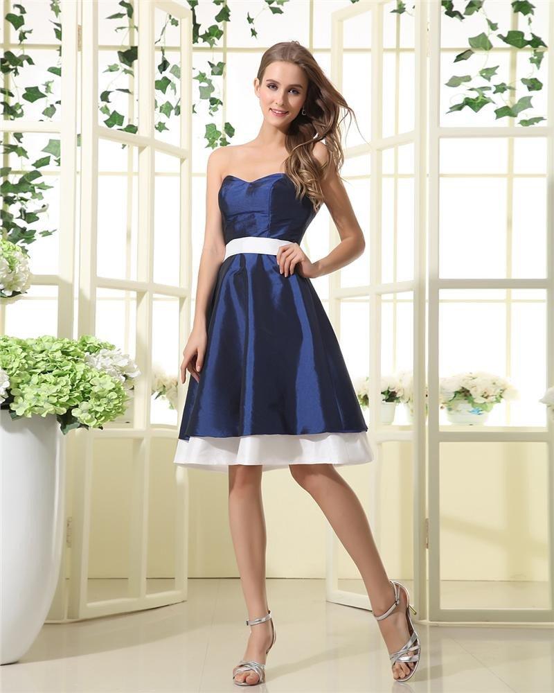 Strapless Sash Sweetheart Knee Length Bridesmaid Dresses