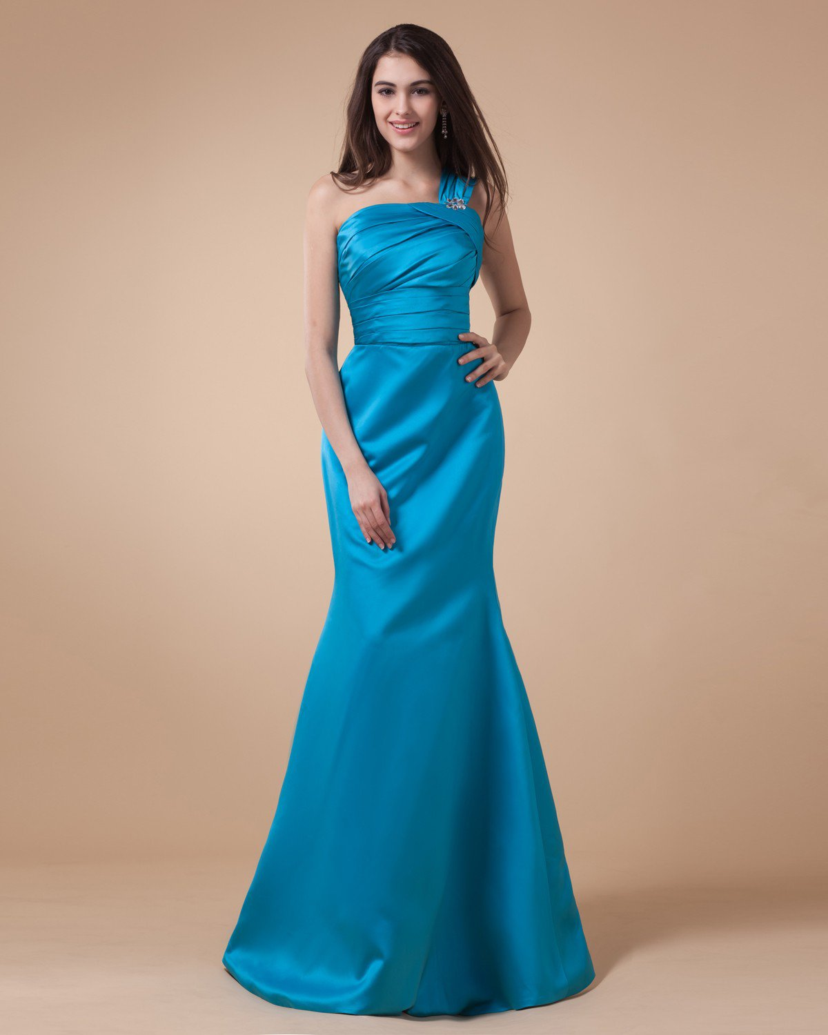 One Shoulder Ruffle Sleeveless Zipper Floor Length Charmeuse Bridesmaid Dresses
