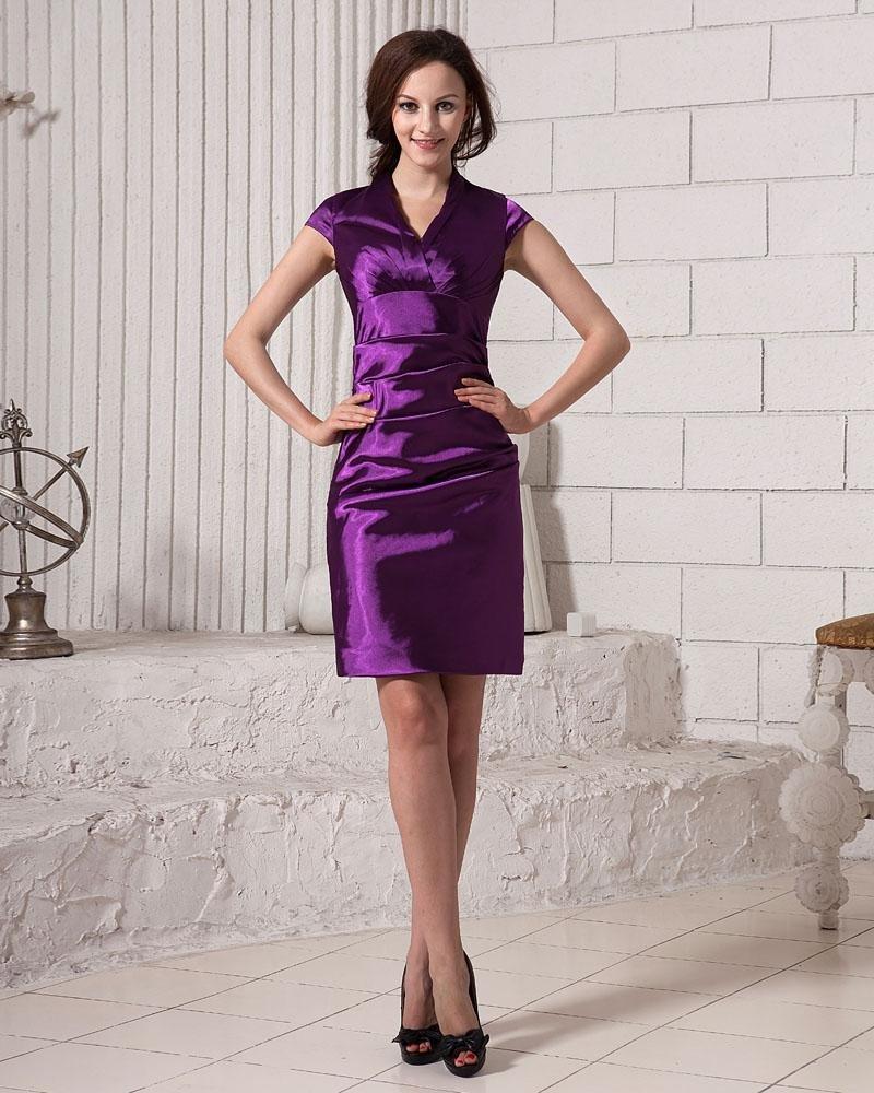 Simple Solid Pleated V Neck Thigh Length Taffeta Women Bridesmaids Dresses