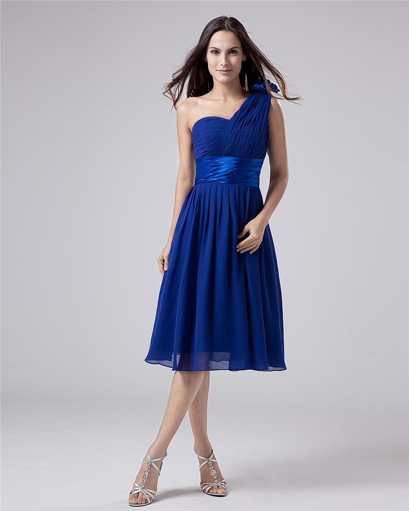 Chiffon One Shoulder Sash Knee Length Bridesmaid Dresses
