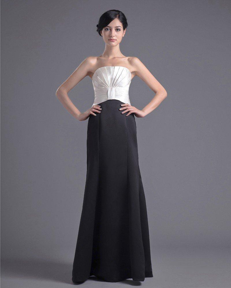 Fashion Satin Pleated Strapless Floor Length Bridesmaid Dress