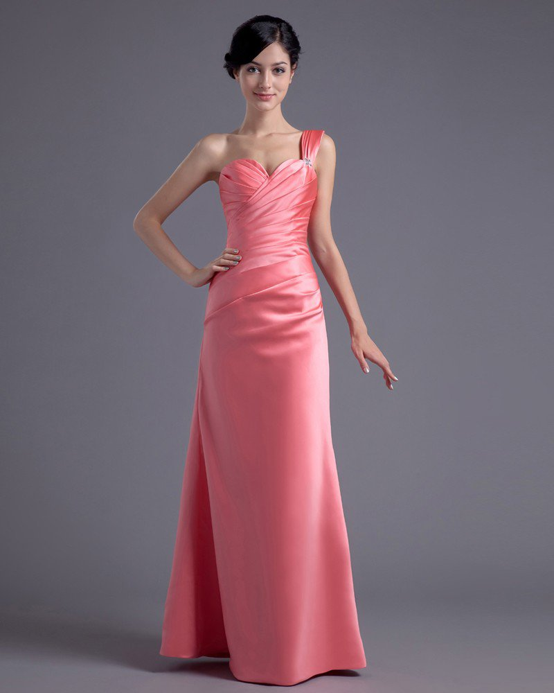 Fashion Satin Pleated One Shoulder Floor Length Bridesmaid Dress