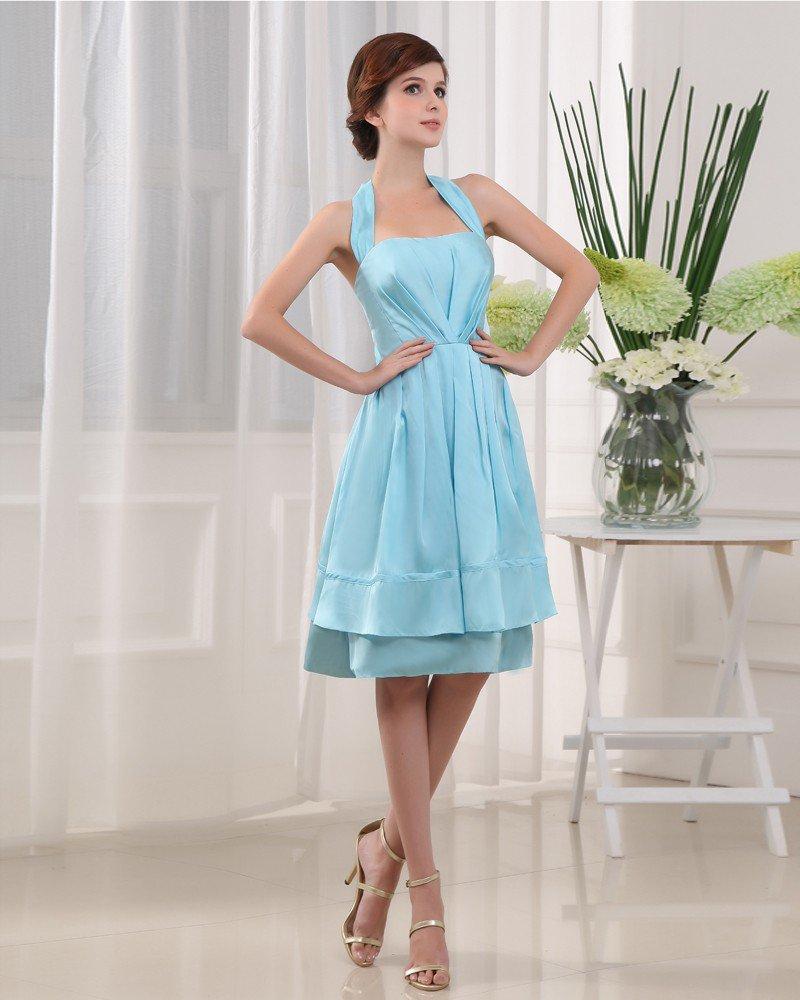 Halter Sleeveless Zipper Pleated Knee Length Charmeuse Woman Bridesmaid Dress