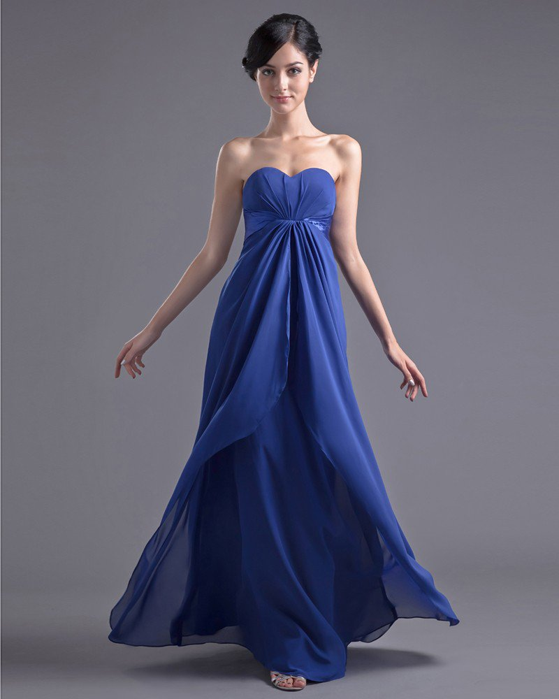 Fashion Chiffon Pleated Sweetheart Floor Length Bridesmaid Dress
