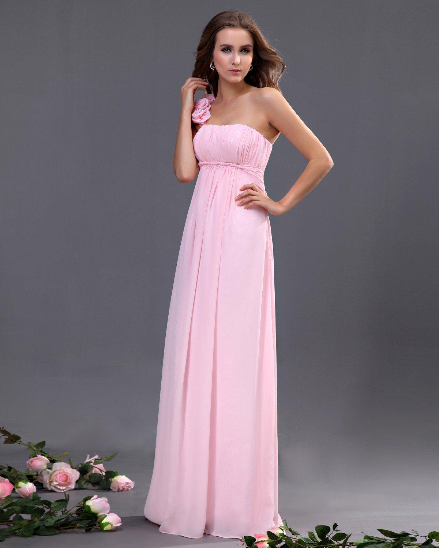 Chiffon One Shoulder Ruffle Floor Length Bridesmaid Dresses