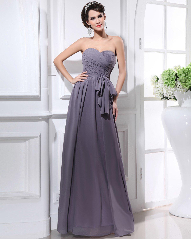 Chiffon Sweetheart Sash Backless Floor Length Bridesmaid Dresses
