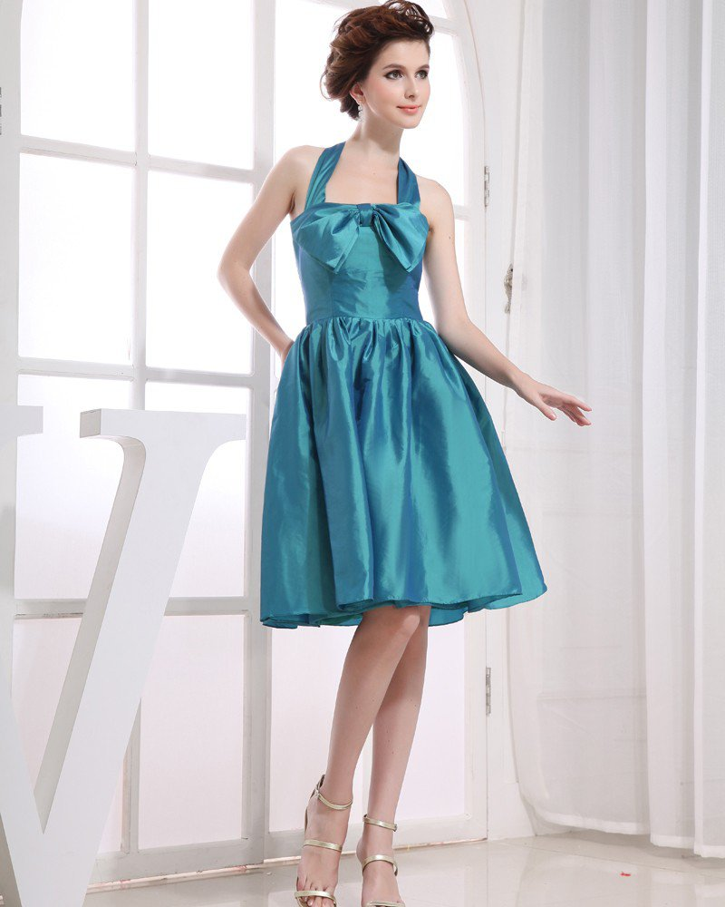 Halter Neckline Sleeveless Knee Length Bowknot Taffeta Empire Bridesmaid Dresses