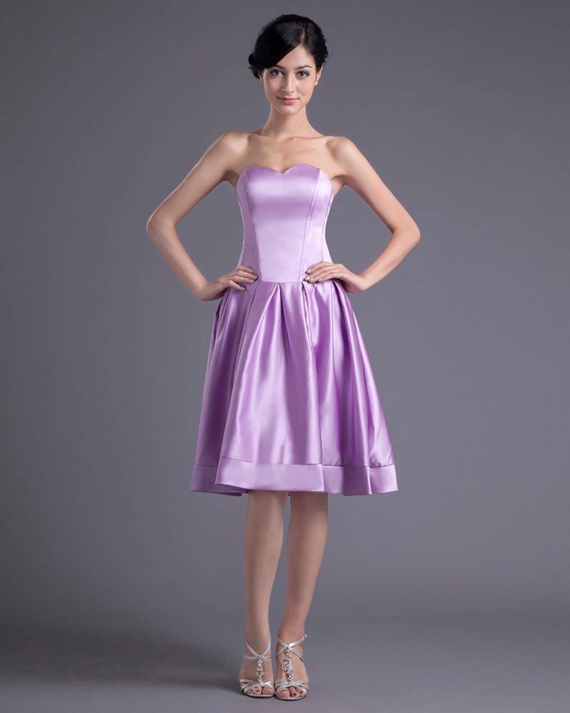 Fashion Satin Sweetheart Knee Length Bridesmaid Dress