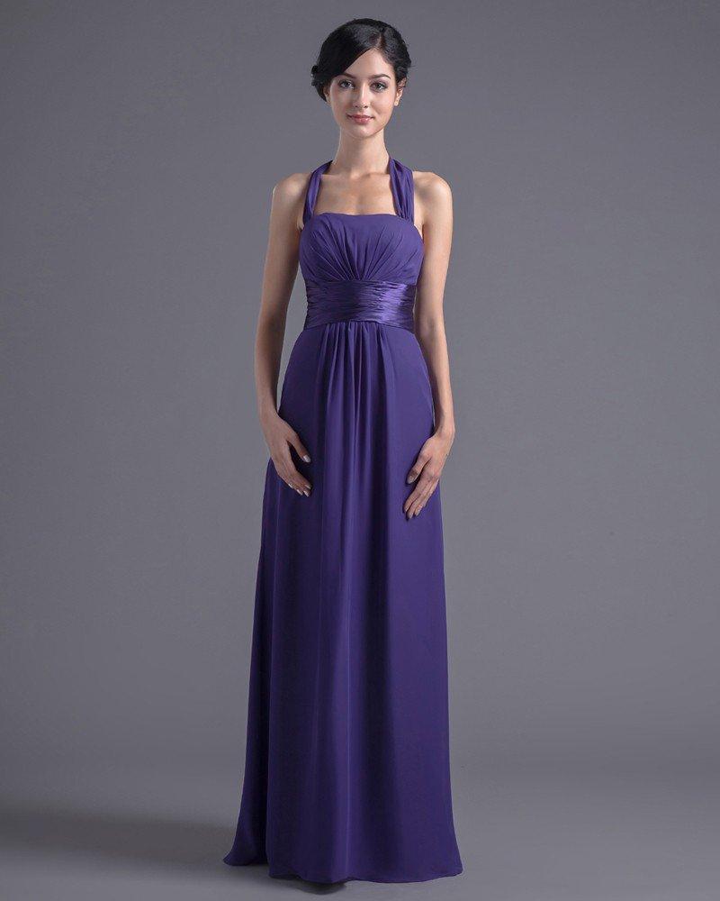 Beautiful Halter Floor Length Pleated Chiffon Bridesmaid Dress