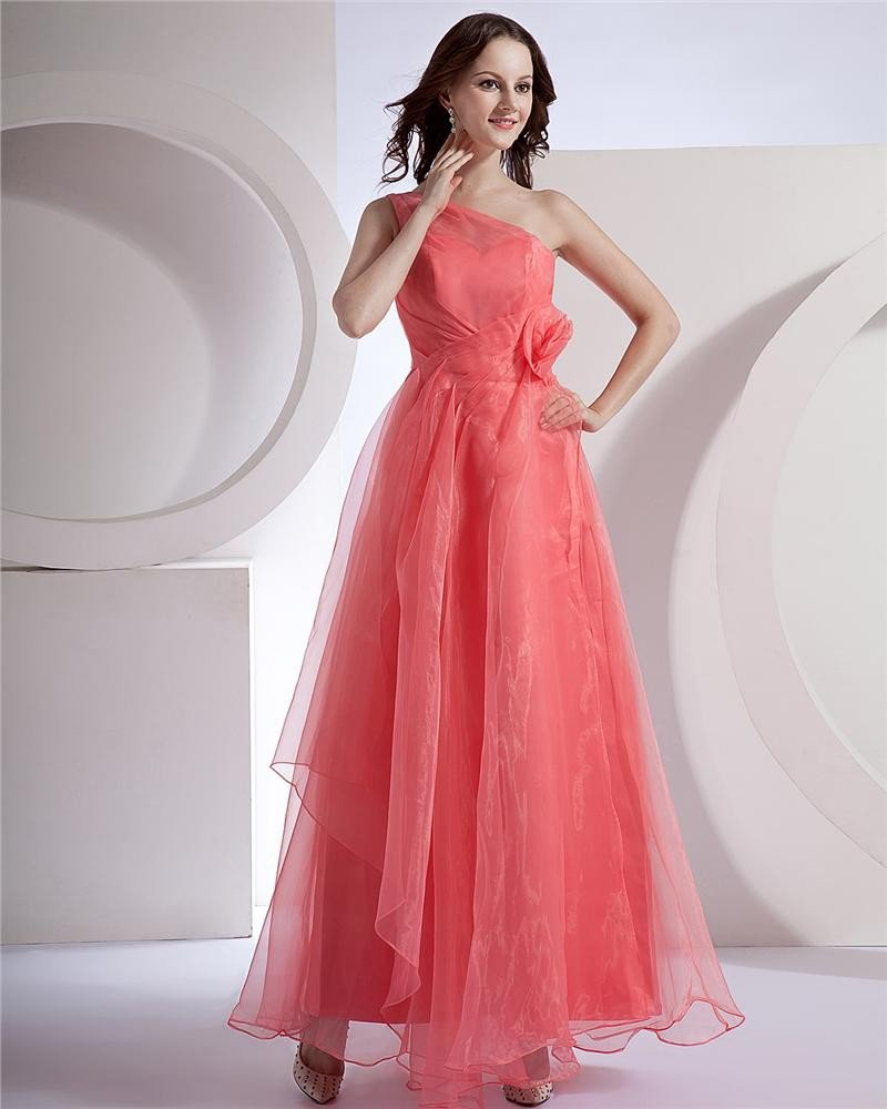 Chiffon Applique Pleated One Shoulder Floor Length Bridesmaid Dresses