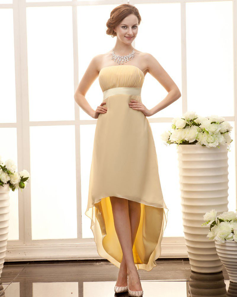 Stylish Strapless Waistband Ankle Length Sateen Chiffon Bridesmaid Dress