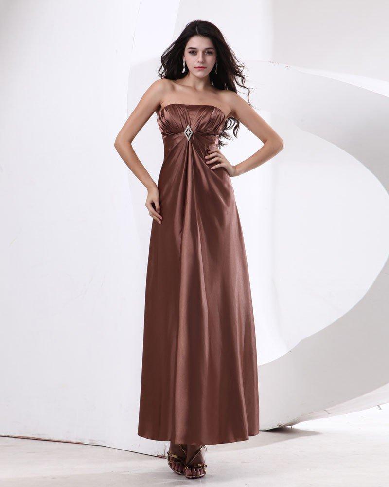 Satin Strapless Floor Length Bridesmaid Dresses