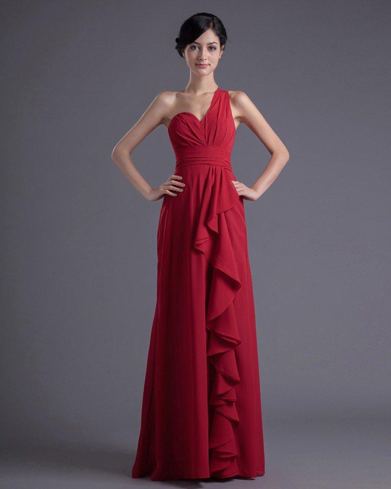 Fashion Chiffon Pleated Ruffle One Shoulder Floor Length Bridesmaid Dress