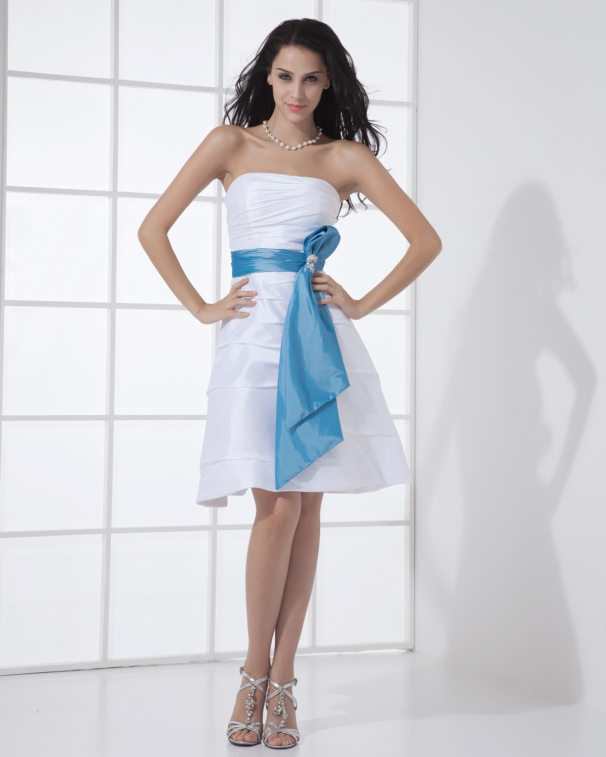 Taffeta Strapless Ruffle Sleeveless Zipper Belt Knee Length Bridesmaid Dress