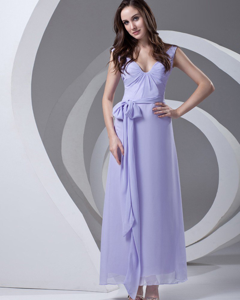 V Neck Pleated Bowknot Ankle Length Chiffon Woman Bridesmaid Dress