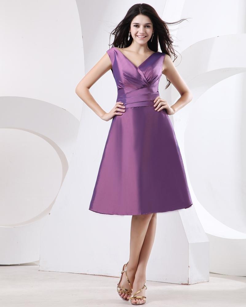 Sheath V-Neck Mini Short Taffeta Bridesmaids Dresses