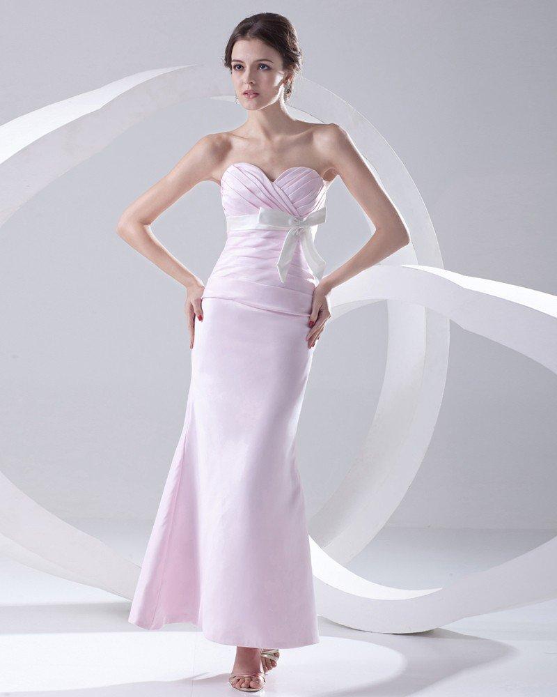 Fashion Satin Pleated Bowknot Sweetheart Sleeveless Ankle Length Bridesmaid Dress