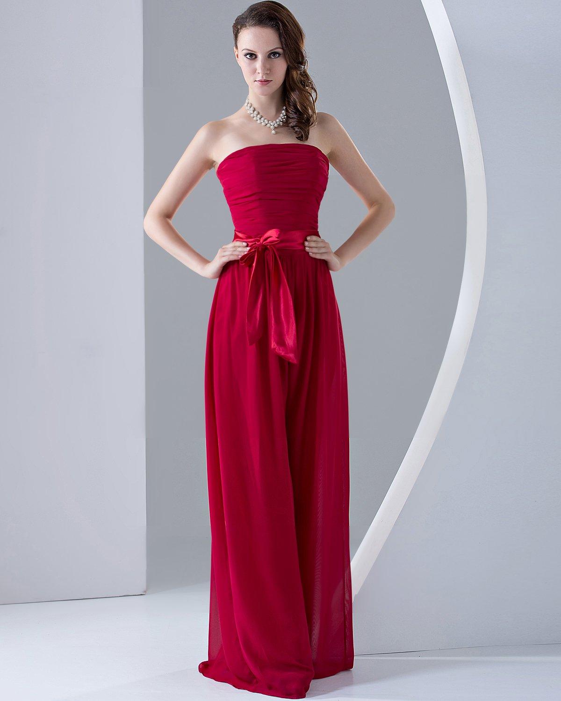 Chiffon Ruffles Strapless Sleeveless Floor Length Bridesmaid Dresses