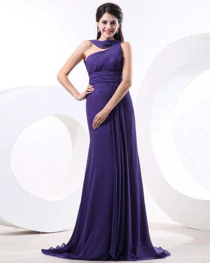 Chiffon Pleat One Shoulder Sleeveless Bridesmaid Dresses